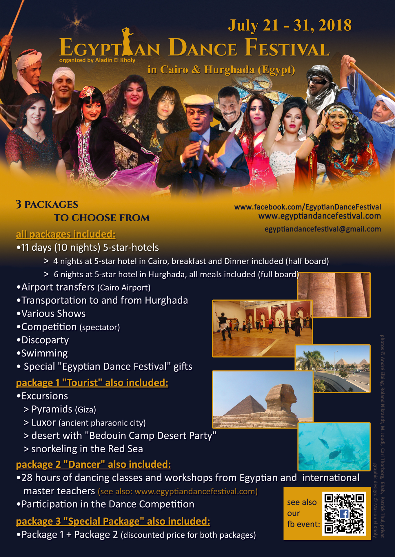 Flyer 2018 (english) Egyptian Dance Festival in Cairo & Hurghada organized by Aladin El Kholy