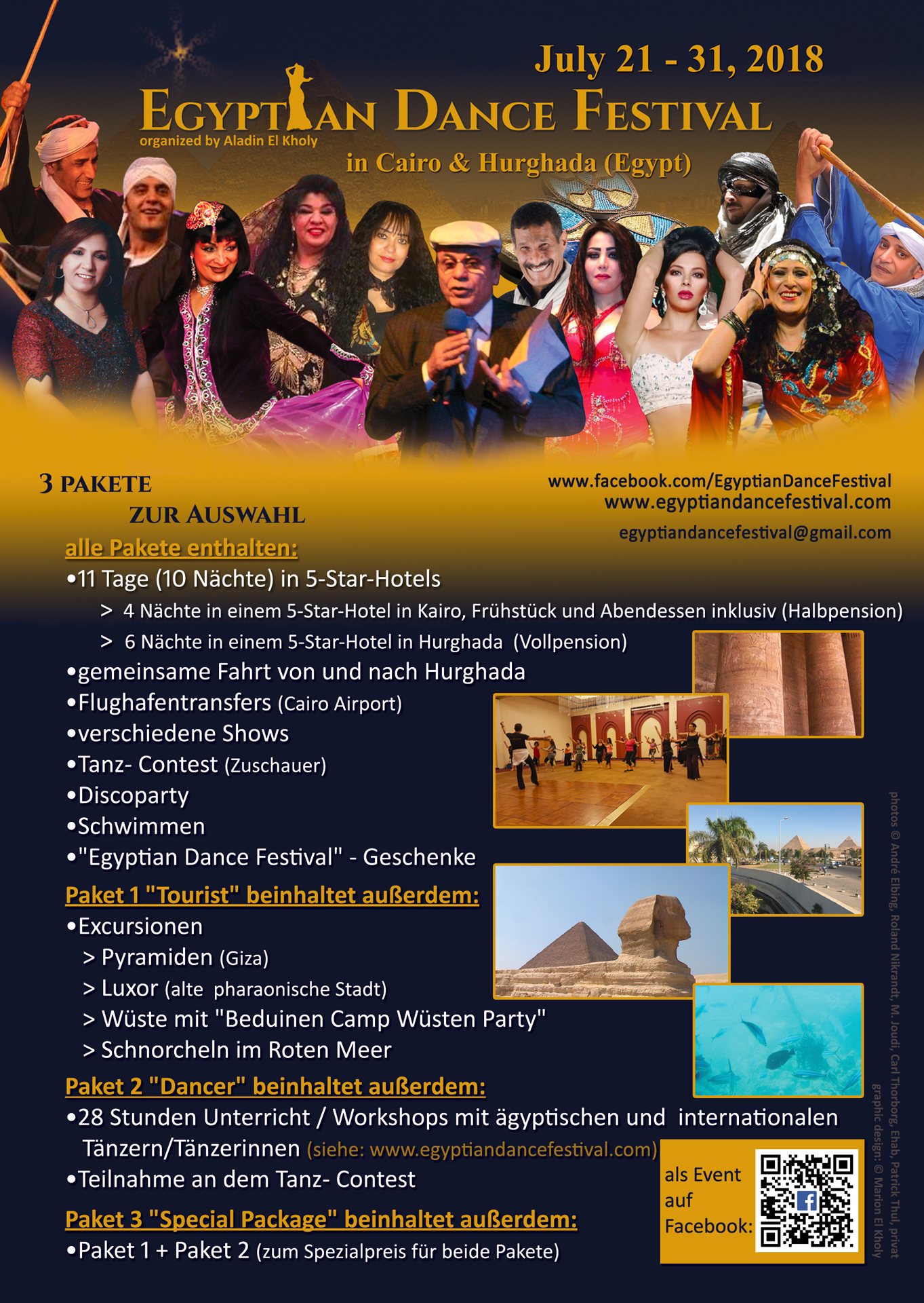 Flyer 2018 (german) Egyptian Dance Festival in Cairo & Hurghada organized by Aladin El Kholy
