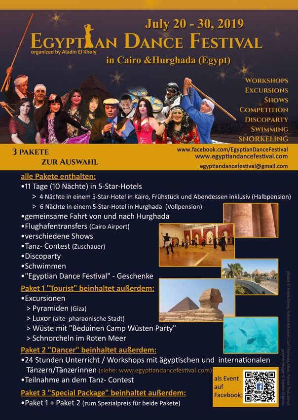 Flyer 2019 (german) Egyptian Dance Festival in Cairo & Hurghada organized by Aladin El Kholy