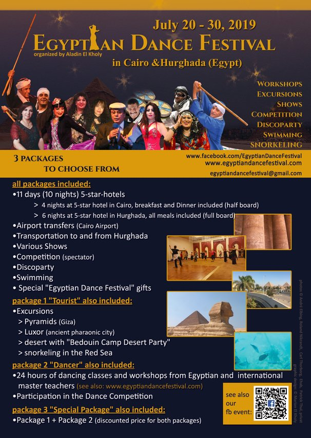 Flyer 2019 (english) Egyptian Dance Festival in Cairo & Hurghada organized by Aladin El Kholy